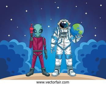 astronaut and alien in the space characters