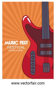 music fest poster with electric guitar