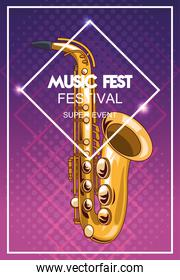 music fest poster with saxophone