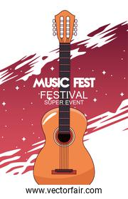 music fest poster with acoustic guitar