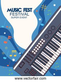 music fest poster with piano
