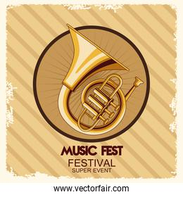 music fest poster with trumpets