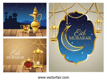 ramadan kareem celebration cards set scenes