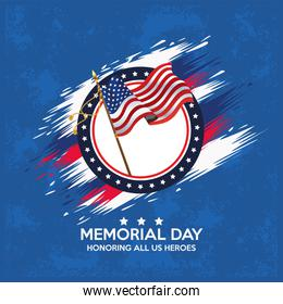 memorial day celebration poster with usa flag