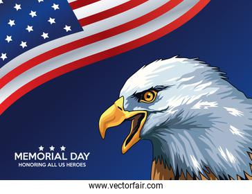 memorial day celebration poster with eagle