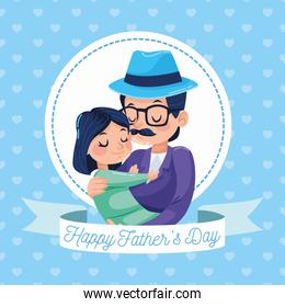 happy fathers day card with hipster dad carring daughter frame