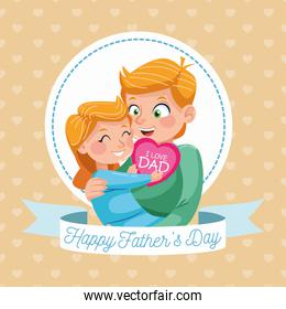 happy fathers day card with dad carring daughter in circular frame
