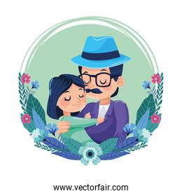 happy fathers day card with hipster dad carring daughter and floral frame