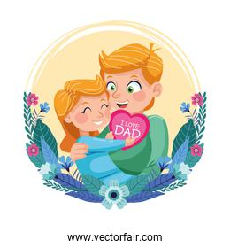 happy fathers day card with dad carring daughter in floral frame