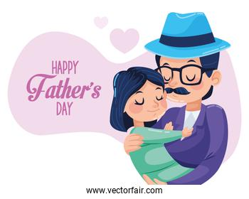 happy fathers day card with hipster dad carring daughter