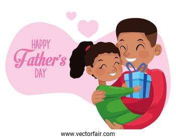 happy fathers day card with afro dad carring daughter