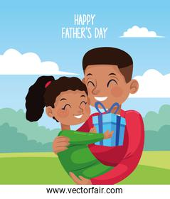 happy fathers day card with afro dad carring daughter in the camp