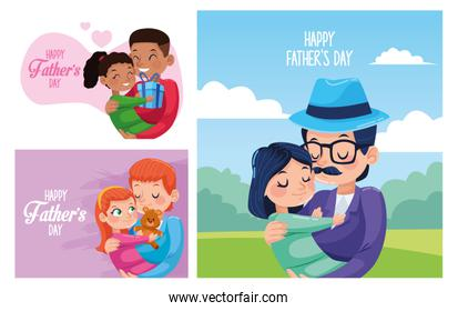 happy fathers day cards with dads carring daughters