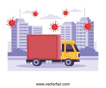 truck delivery service with covid19 particles