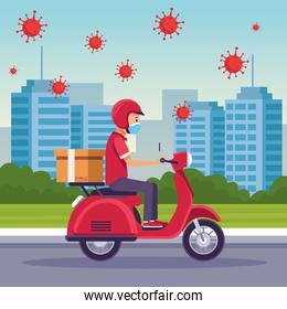 courier in motorcycle delivery service with covid19 particles
