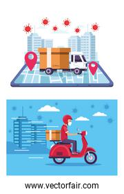 online  delivery service cards with covid19 particles