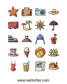 bundle of vacations set icons