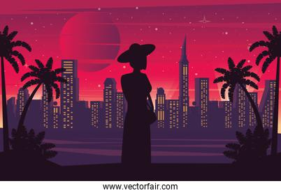 cyber punk poster with woman in landscape silhouette
