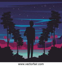 cyber punk poster with man in landscape silhouette