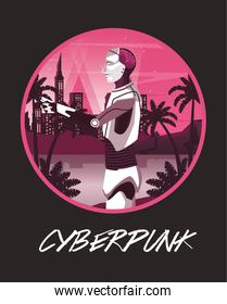 cyber punk poster with humanoid robot