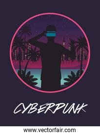 cyber punk poster with man using virtual reality mask