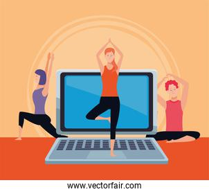 people practicing online exercise and yoga for quarantine