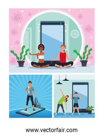 interracial people practicing online exercise and yoga for quarantine