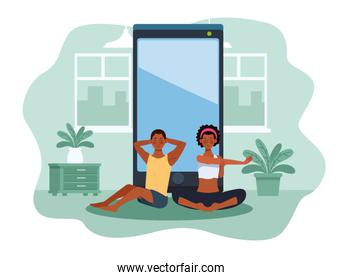 afro couple practicing online exercise and yoga for quarantine