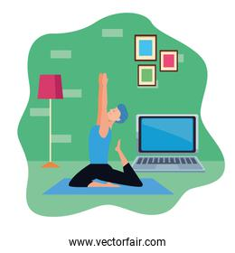 young man practicing online yoga for quarantine