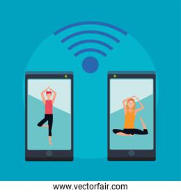 couple practicing online exercise and yoga for quarantine