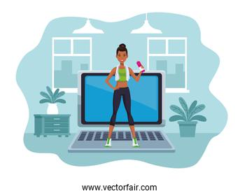 afro woman practicing online exercise for quarantine