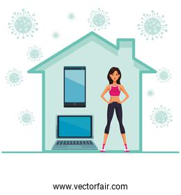 young woman practicing online exercise for quarantine