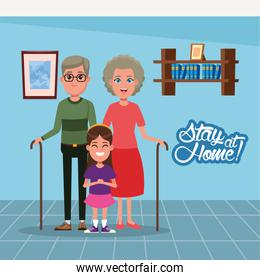 stay at home campaign with grandparents and granddaughter