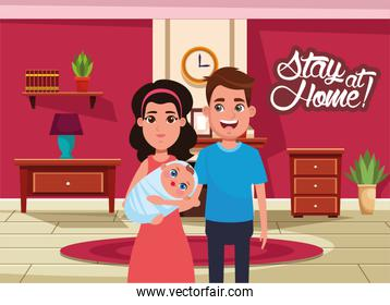 stay at home campaign with parents lifting baby