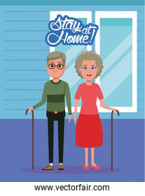 stay at home campaign with grandparents couple