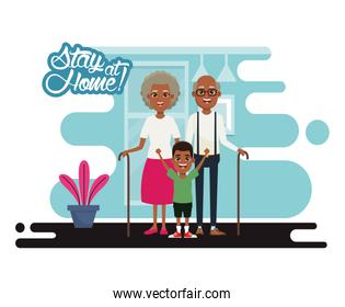 stay at home campaign with afro grandparents and grandson