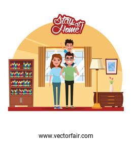 stay at home campaign with parents and son