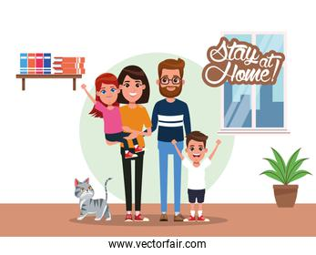 stay at home campaign with parents and kids