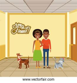 stay at home campaign with afro couple and pets
