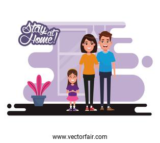 stay at home campaign with parents and daughter