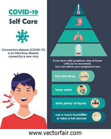covid19 infographics with self care