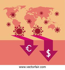 economy and covid19 statistics with arrows in earth maps