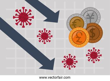 economy and covid19 statistics with arrows and international coins