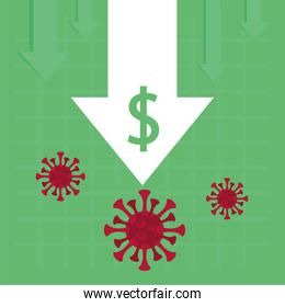 economy and covid19 statistics with arrow and money symbol