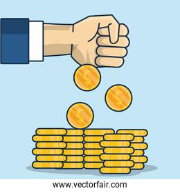 hand human with coins money icon
