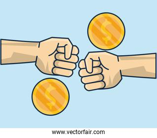 hands human deal with coins money