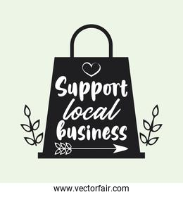 support local business poster with shopping bag