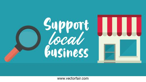 support local business poster with store building