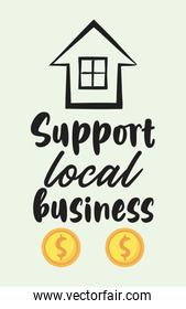 support local business poster with front facade