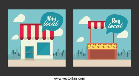 shop local poster with store building and oranges kiosk